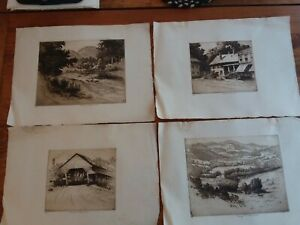 4 Etching Pencil Signed George T. Plowman 1869-1932 (American) author artist art