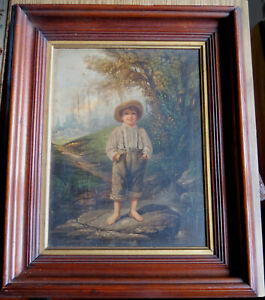THE BAREFOOT BOY - PRANG CHROMOLITHOGRAPH 19th C With WALNUT FRAME  $399.99