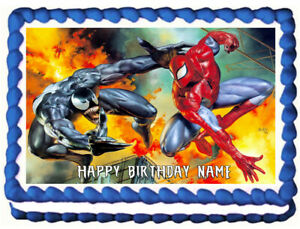 SPIDERMAN and VENOM Edible Cake topper image party