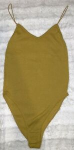 New Out From Under Yellow Ribbed Bungee Cord Thin Strap Bodysuit Size XS S $22.77