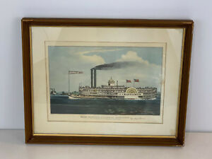 Vintage After N. Currier Lithograph Print High Pressure Steamboat Mayflower $85.00