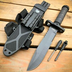 12.5quot; FIXED BLADE MILITARY TACTICAL Hunting Army SURVIVAL Knife w Fire Starter