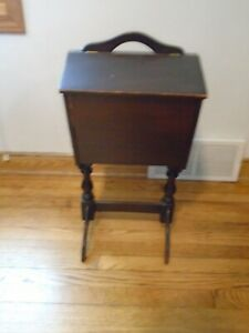 Antique Sewing Knitting Box Cabinet Stand  Vintage Wood $50.00