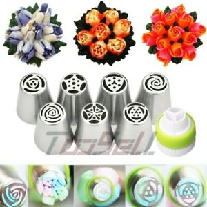 7Pcs Russian Flower Icing Piping Nozzles Pastry Tips Cake DIY Baking Tools S