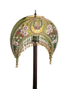 Victorian Trading Embroidered Beaded Madame Butterfly Green Crescent Lampshade $143.95