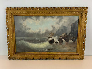 Vintage Possibly Antique Oil on Canvas Seascape Oil Painting w Ship $425.00