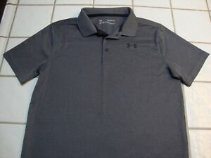 Under Armour Golf Polo Shirt Gray Short Sleeve Loose Fit Boys Youth Size XL YXL $15.99