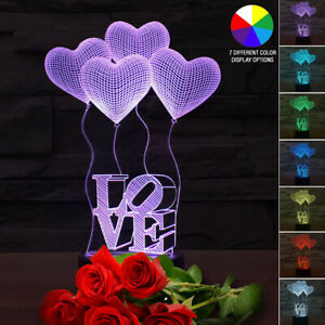 3D LED Table Kid Night Light Lamp 7 Color with USB Bedroom Gift for Mom or Child