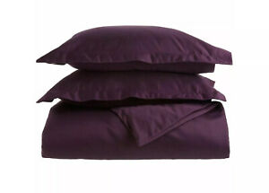 3 Pc. Superior 650 Thread Count King/Cal King Duvet Cover Set,Solid Plum