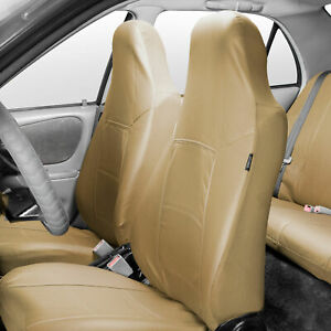 Highback Bucket Seat Covers Set PU Leather For Auto Car SUV Van Beige
