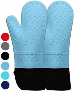Homwe Extra Long Professional Silicone Oven Mitt, Oven Mitts With Quilted Liner,