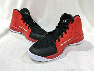 Under Armour UA PS Jet 2019 Red Black Mid Boy's Basketball Shoes Size 2 3Y NWB $39.99