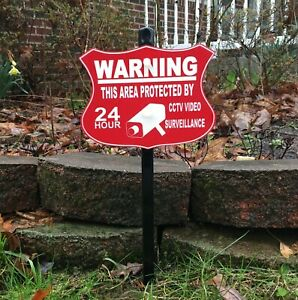 Security Surveillance Camera Warning CCTV Lawn Sign - FREE SHIPPING