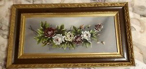 Antique Victorian Rose Still Life Oil Painting In Beautiful Original Frame