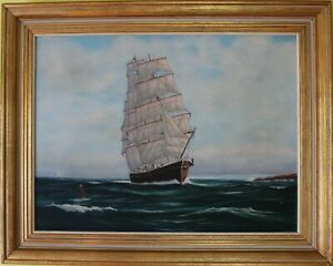 Original oil painting on canvas seascape Sailing ship on the high seasSigned