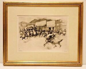 Listed AMERICAN RH PALENSKE Signed ORIGINAL ETCHING WESTERN ART