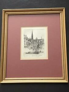 Morris Henry Hobbs Etching Artist Signed NOTRE DAMN PARIS Cert of Authenticity