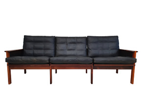 Danish design by Illum Wikkelsø 3 seater sofa Capella series 70s exotic wood