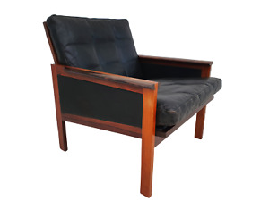Danish design by Illum Wikkelsø armchair Capella series 70s exotic wood