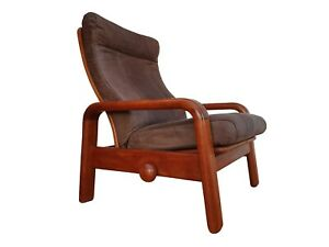 Danish adjustable lounge chair HS Design nubuck leather solid teak wood 80s