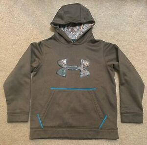 Under Armour Boy's UA Solid Pullover Hoodie Youth M Medium Brown camo $18.99