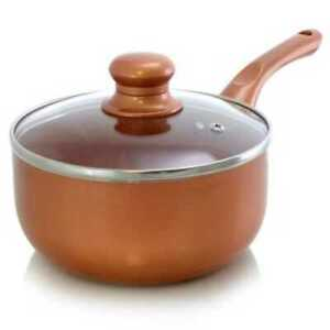 Copper Colored Ceramic Coated Saucepan with Glass Lid Flat Bottom Stove Top Pot