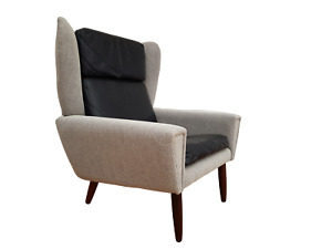 Danish designed armchair 70's wool leather reupholstered