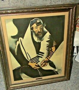 Vintage Marc CHAGALL  Lithograph Print THE RABBI Praying JEW 1948