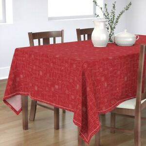 Tablecloth Utensils Kitchen Spatula Knife Cheese Grater Spoon Cotton Sateen