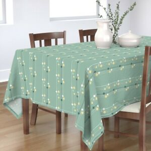 Tablecloth Mid Century Mod Lava Lamps Stripes Mint Green Vertical Cotton Sateen