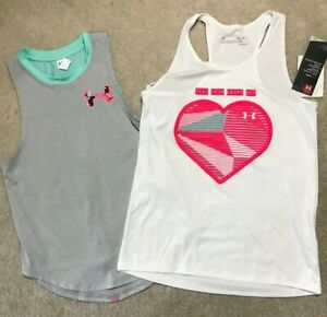 Under Armour Heat Gear Tank White Gray Girls Size S, M, XL NEW $8.99