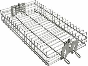 6042 BBQ Stainless Steel Flat Spit Rotisserie Grill Basket for Any Grill