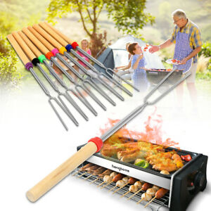 1/4PCS Hot Dog Camping New Outdoor Roasting Sticks BBQ Forks Skewers Telescoping