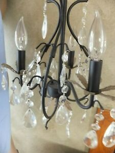 Crystal Light Chandelier Ceiling Fixture drop Glass Cut Prisms w 3 lights Home