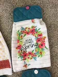 Spring Flower Double Dish Hanging Kitchen Towel With Hot Pad Holder CHOICE $5.00
