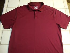 Under Armour Golf Shirt Burgundy Red Loose Fit Short Sleeve Mens Size XL $14.99