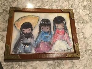 DeGrazia Framed Painting Signed Likely Artist Oil Enhanced Canvas Print $65.00