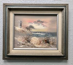 ORIGINAL Silver Gray Seascape Lighthouse Painting SIGNED quot;Antonioquot; Great FRAME $34.75