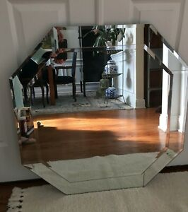 LARGE ALL GLASS CONTEMPORARY OCTAGONAL 30 INCH BEVELED EDGE WALL MIRROR NEW