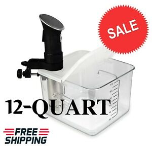 Sous Vide Container 12 Quart Collapsible Lid & Corner Mount for Anova Cooker NEW
