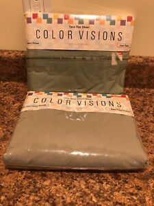 Twin Flat Sheet & Deep Fitted Set ColorVisions Westpoint Stevens Luxury Percale