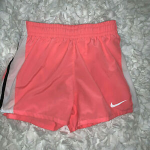 NIKE Dri Fit Girls Running Shorts with Liner Peach White Black Size Large $12.99