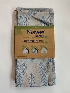 """Norwex Set of 4 Napkins Leaf Patternwith BACLOCK17"""" X 12.5 Brand New MSRP $30"""