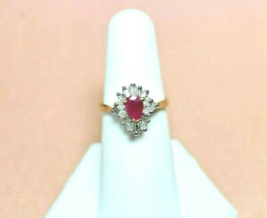 14K Ruby and Diamond 14K SOLID GOLD sz. 6.5