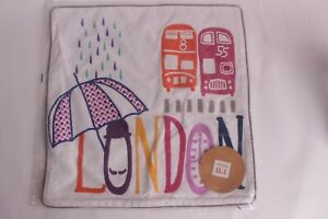 NWT Pottery Barn PB Teen Destination pillow cover, 18x18: London UK embroidered