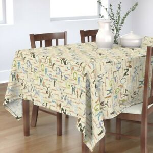 Tablecloth Mythical Beasts Alphabet Letters Typography Monster Cotton Sateen