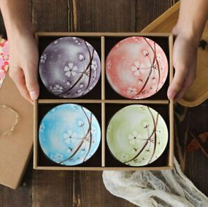 Set of 4 Japanese Style Ceramic Rice Bowl Assorted Designs Color Dinnerware USA