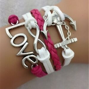 Pink White Leather Anchor Love Infinity Friendship Bracelet