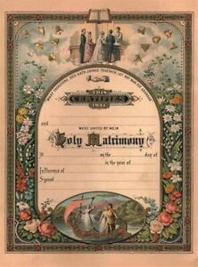 Victorian Trading Blank Antique Replica Marriage Certificate 12x16 from 1869 3D
