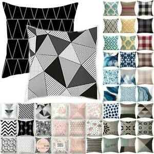 Geometric Black Grey Cushion Cover Throw Pillow Case Bench Bedroom Outdoor 18